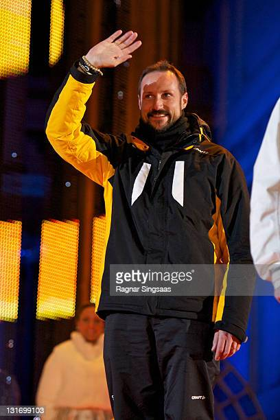 Prince Haakon of Norway attends the Mens Cross Country 15km Individual Classic medal ceremony at University Square during the FIS Nordic World Ski...