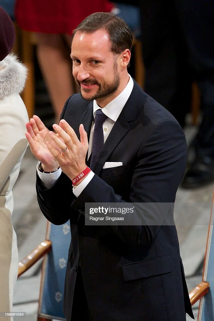 Prince Haakon of Norway attends The Nobel Peace Prize Ceremony at Oslo City Hall on December 10, 2012 in Oslo, Norway.