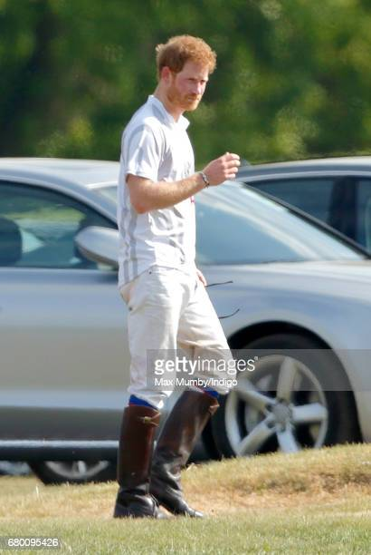 Prince Harry after taking part in the Audi Polo Challenge at Coworth Park Polo Club on May 7 2017 in Ascot England