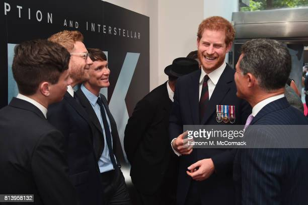 Prince Harry and actors Barry Keoghan Sir Kenneth Branagh and Cillian Murphy attend the 'Dunkirk' World Premiere at Odeon Leicester Square on July 13...