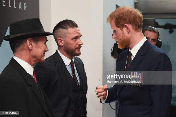 Prince Harry and actors Mark Rylance and Tom Hardy attend the 'Dunkirk' World Premiere at Odeon Leicester Square on July 13 2017 in London England