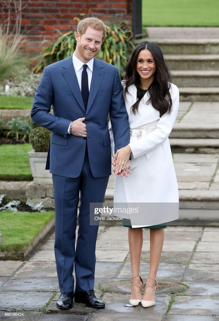 Prince Harry and actress Meghan Markle during an official photocall to announce their engagement at The Sunken Gardens at Kensington Palace on November 27, 2017 in London, England. Prince Harry and Meghan Markle have been a couple officially since November 2016 and are due to marry in Spring 2018.
