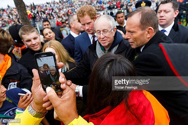 Prince Harry and Australian Prime Minister Tony Abbottt attend a commemorative ceremony marking the centenary of the Gallipoli campaign at Lone Pine...