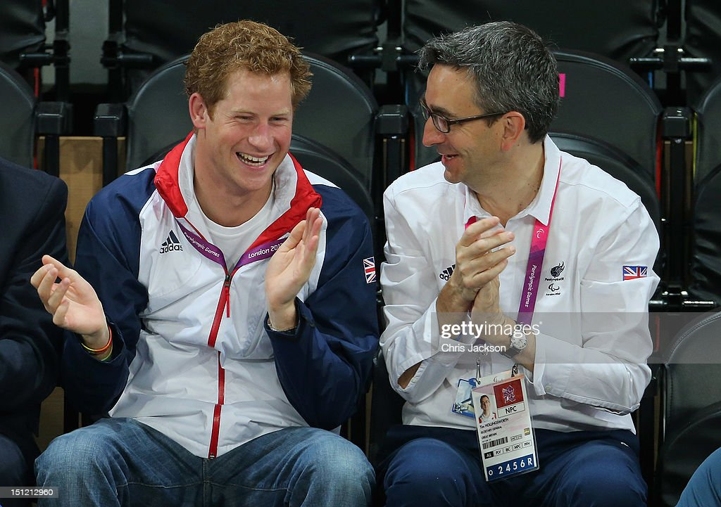 Prince Harry and British Paralympic Association chief executive Tim Hollingsworth (R) attend the Goalball on day 6 of the London 2012 Paralympic Games at The Copper Box on September 4, 2012 in London, England.