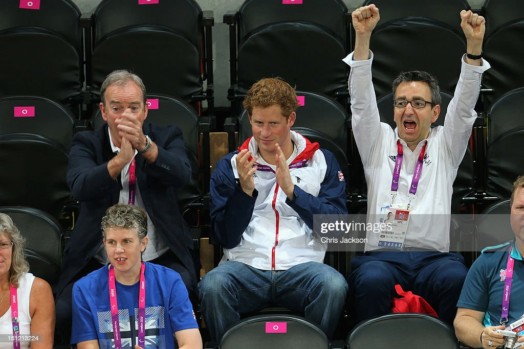 <a gi-track='captionPersonalityLinkClicked' href=/galleries/search?phrase=Prince+Harry&family=editorial&specificpeople=178173 ng-click='$event.stopPropagation()'>Prince Harry</a> and British Paralympic Association chief executive Tim Hollingsworth (R) attend the Goalball on day 6 of the London 2012 Paralympic Games at The Copper Box on September 4, 2012 in London, England.