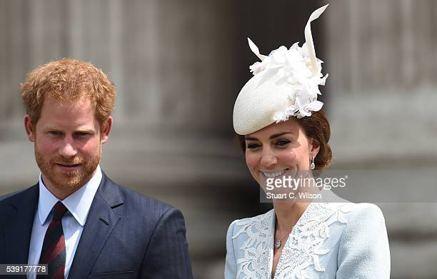 Prince Harry and Catherine Duchess of Cambridge attend a National Service of Thanksgiving as part of the 90th birthday celebrations for The Queen at...