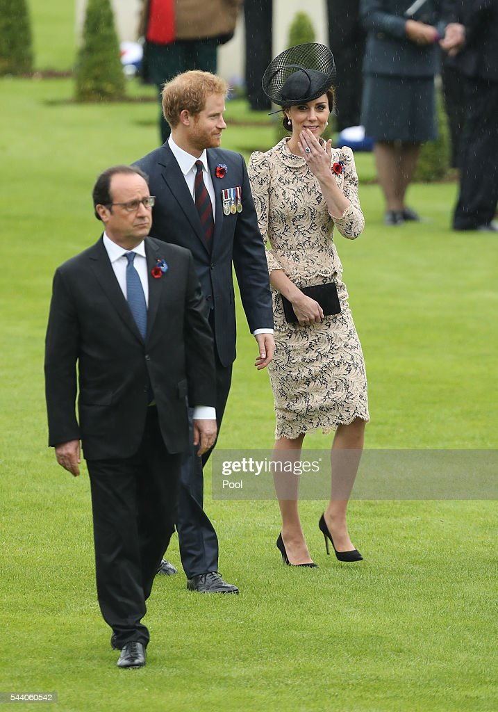 Prince Harry, and Catherine, Duchess of Cambridge attend a service to mark the 100th anniversary of the beginning of the Battle of the Somme at the Thiepval memorial to the Missing on July 1, 2016 in Thiepval, France. The event is part of the Commemoration of the Centenary of the Battle of the Somme at the Commonwealth War Graves Commission Thiepval Memorial in Thiepval, France, where 70,000 British and Commonwealth soldiers with no known grave are commemorated.