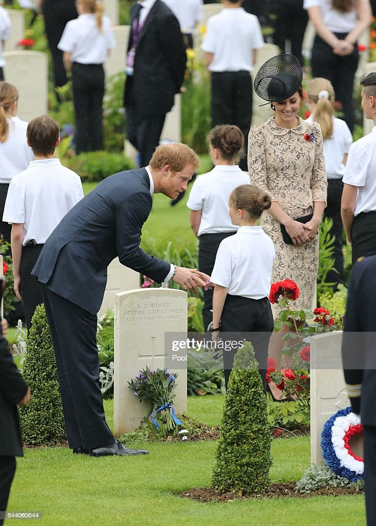 Prince Harry and Catherine, Duchess of Cambridge attend a service to mark the 100th anniversary of the beginning of the Battle of the Somme at the Thiepval memorial to the Missing on July 1, 2016 in Thiepval, France. The event is part of the Commemoration of the Centenary of the Battle of the Somme at the Commonwealth War Graves Commission Thiepval Memorial in Thiepval, France, where 70,000 British and Commonwealth soldiers with no known grave are commemorated.