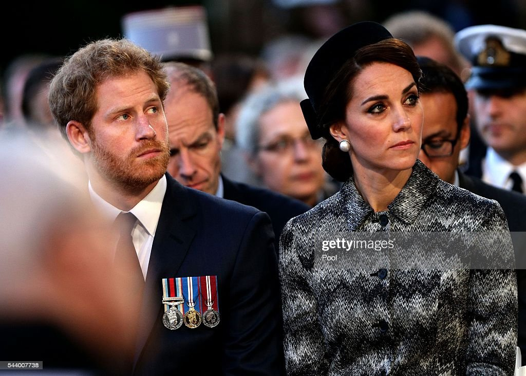 <a gi-track='captionPersonalityLinkClicked' href=/galleries/search?phrase=Prince+Harry&family=editorial&specificpeople=178173 ng-click='$event.stopPropagation()'>Prince Harry</a> and Catherine, Duchess of Cambridge attend part of a military-led vigil to commemorate the 100th anniversary of the beginning of the Battle of the Somme at the Thiepval memorial to the Missing in June 30, 2016 in Thiepval, France. The event is part of the Commemoration of the Centenary of the Battle of the Somme at the Commonwealth War Graves Commission Thiepval Memorial in Thiepval, France, where 70,000 British and Commonwealth soldiers with no known grave are commemorated.