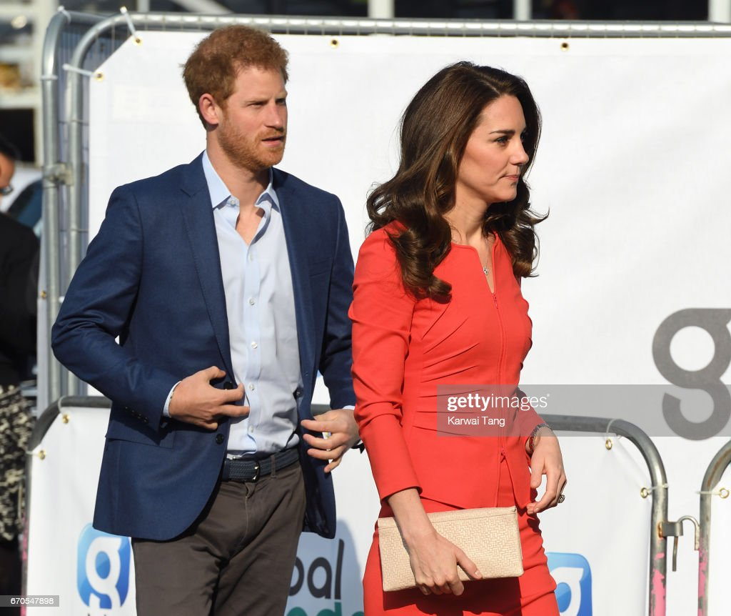 Prince Harry and Catherine, Duchess of Cambridge attend the official opening of The Global Academy in support of Heads Together at The Global Academy on April 20, 2017 in Hayes, England.