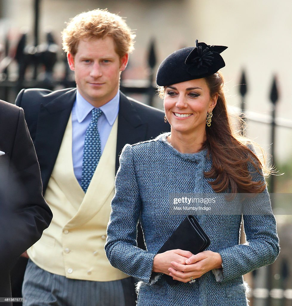<a gi-track='captionPersonalityLinkClicked' href=/galleries/search?phrase=Prince+Harry&family=editorial&specificpeople=178173 ng-click='$event.stopPropagation()'>Prince Harry</a> and <a gi-track='captionPersonalityLinkClicked' href=/galleries/search?phrase=Catherine+-+Duchess+of+Cambridge&family=editorial&specificpeople=542588 ng-click='$event.stopPropagation()'>Catherine</a>, Duchess of Cambridge attend the wedding of Lucy Meade and Charlie Budgett at the church of St Mary the Virgin, Marshfield on March 29, 2014 in Chippenham, England.