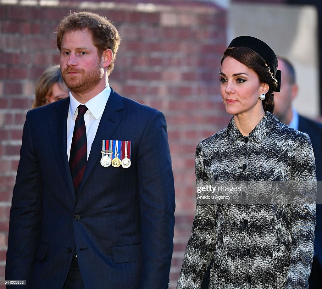 Prince Harry and Catherine, Duchess of Cambridge take part in a vigil at Thiepval Memorial to the Missing of the Somme during Somme Centenary Commemorations on June 30, 2016 in Thiepval, France.