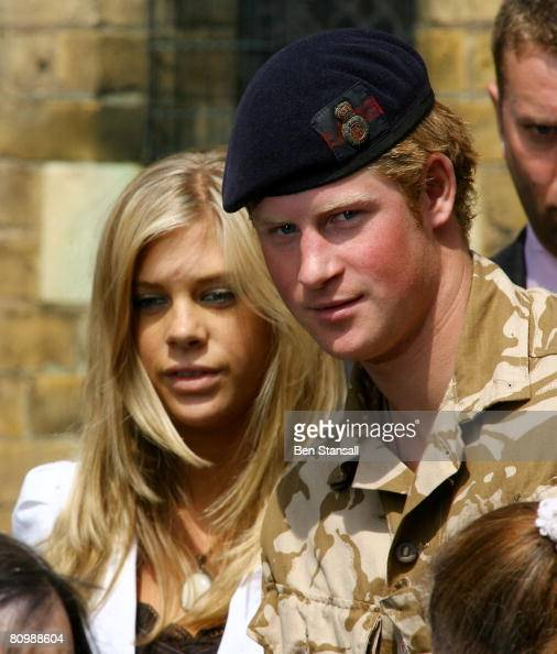 Prince Harry and Chelsy Davy leave a service of remembrance and thanksgiving at the Holy Trinity Church on May 5 2008 in Windsor England