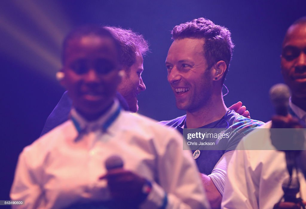 <a gi-track='captionPersonalityLinkClicked' href=/galleries/search?phrase=Prince+Harry&family=editorial&specificpeople=178173 ng-click='$event.stopPropagation()'>Prince Harry</a> and Chris Martin on stage with the Basotho Youth Choir at the finale of the Sentebale Concert at Kensington Palace on June 28, 2016 in London, England. Sentebale was founded by <a gi-track='captionPersonalityLinkClicked' href=/galleries/search?phrase=Prince+Harry&family=editorial&specificpeople=178173 ng-click='$event.stopPropagation()'>Prince Harry</a> and Prince Seeiso of Lesotho over ten years ago. It helps the vulnerable and HIV positive children of Lesotho and Botswana.