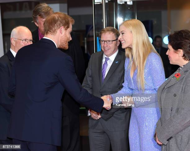 Prince Harry and Fearne Cotton attend the Virgin Money Giving Mind Media Awards at Odeon Leicester Square on November 13 2017 in London England