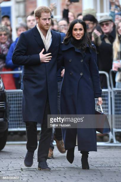 Prince Harry and fiancée Meghan Markle attend the Terrance Higgins Trust World AIDS Day charity fair at Nottingham Contemporary on December 1 2017 in...