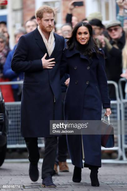 Prince Harry and fiancee Meghan Markle attend the Terrance Higgins Trust World AIDS Day charity fair at Nottingham Contemporary on December 1 2017 in...