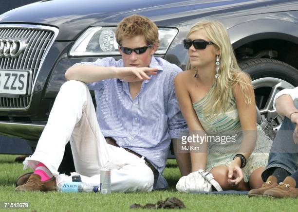 Prince Harry and his girlfriend Chelsy Davy attend the Cartier International Polo match at the Guards Polo Club on 30 July 2006 in Egham England