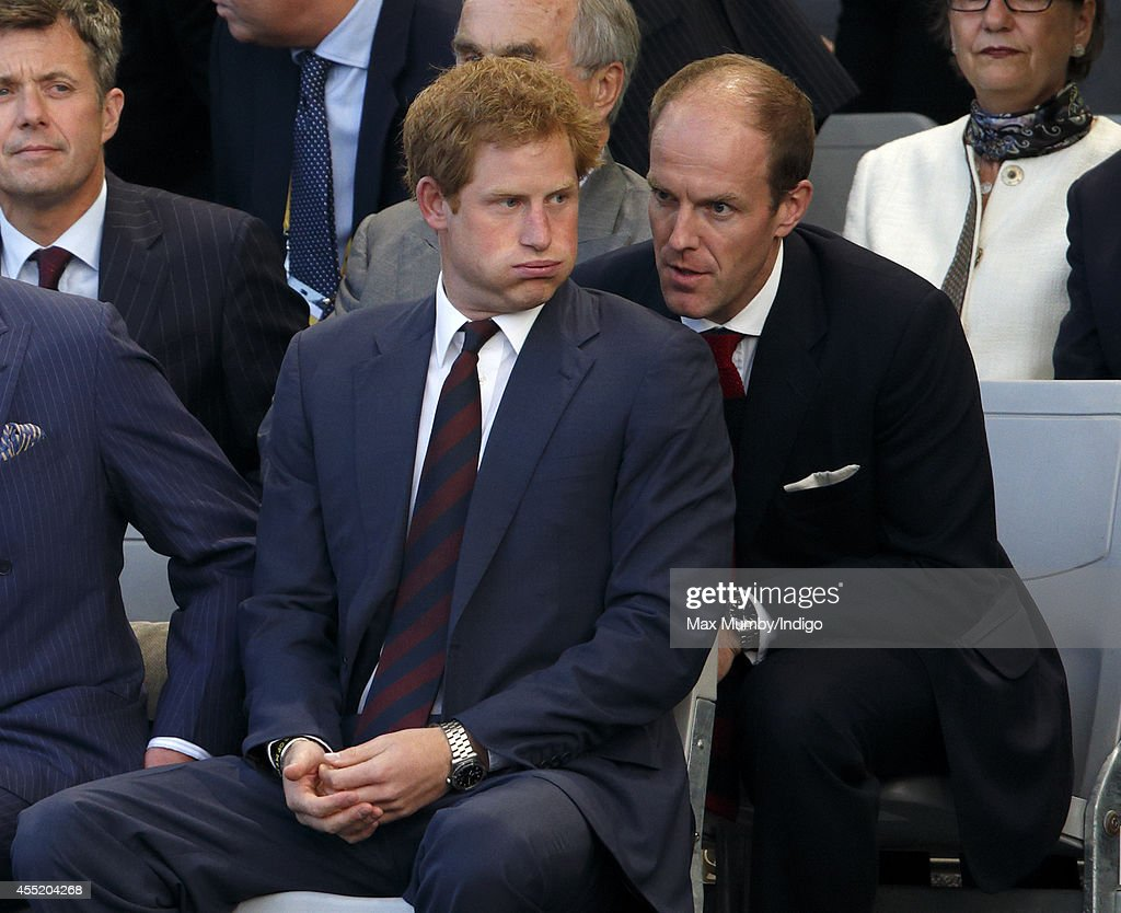 Prince Harry and his Private Secretary Edward Lane Fox attend the Opening Ceremony of the Invictus Games at the Queen Elizabeth Olympic Park on September 10, 2014 in London, England.