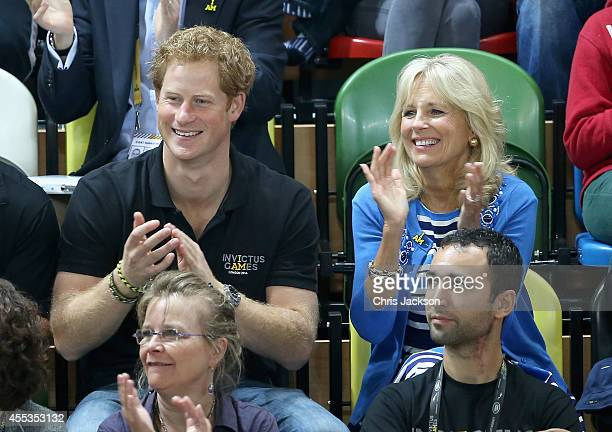 Prince Harry and Jill Biden watch the wheelchair basketball at the Copper Box at Queen Elizabeth park on September 13 2014 in London England The...