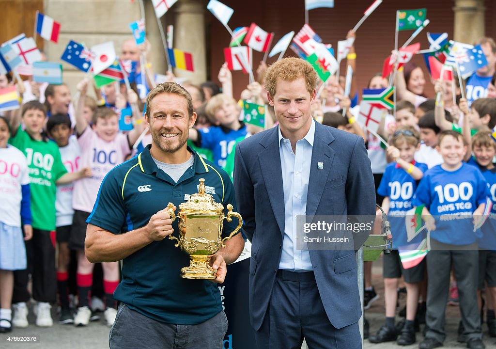 Prince Harry and Jonny Wilkinson attend the launch of the Rugby World Cup Trophy Tour, 100 days before the Rugby World Cup at Twickenham Stadium on June 10, 2015 in London, England.