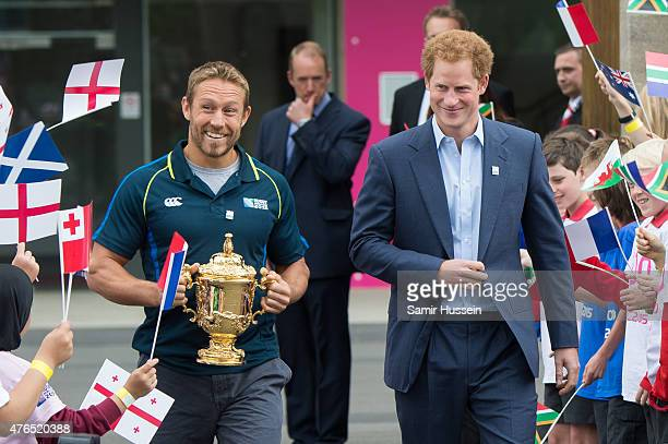 Prince Harry and Jonny Wilkinson attend the launch of the Rugby World Cup Trophy Tour 100 days before the Rugby World Cup at Twickenham Stadium on...