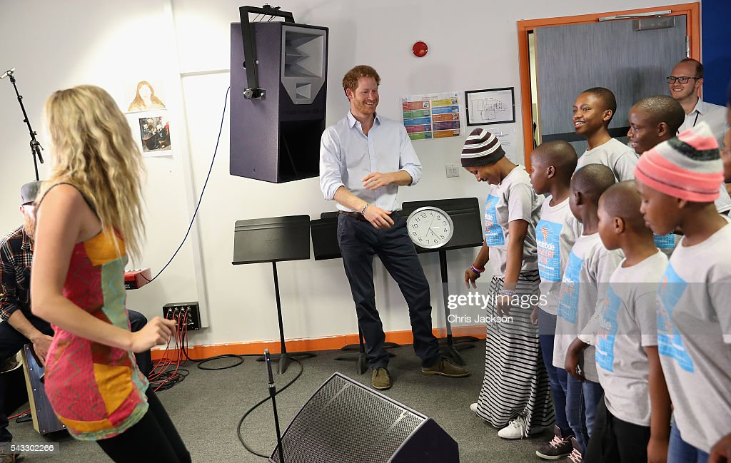 <a gi-track='captionPersonalityLinkClicked' href=/galleries/search?phrase=Prince+Harry&family=editorial&specificpeople=178173 ng-click='$event.stopPropagation()'>Prince Harry</a> and <a gi-track='captionPersonalityLinkClicked' href=/galleries/search?phrase=Joss+Stone&family=editorial&specificpeople=201922 ng-click='$event.stopPropagation()'>Joss Stone</a> watch the Basotho Youth Choir, made up of six boys and six girls, aged between 7 and 19 years old, rehearse at the Brit School on June 27, 2016 in London, England. The Basotho Youth Choir will perform alongside Sentebale Ambassador <a gi-track='captionPersonalityLinkClicked' href=/galleries/search?phrase=Joss+Stone&family=editorial&specificpeople=201922 ng-click='$event.stopPropagation()'>Joss Stone</a> at tomorrow's Sentebale Concert at Kensington Palace, headlined by Coldplay. The choir members have all been supported by Sentebale's Secondary School Bursaries Progamme or Care for Vulnerable Children Programme. The Bursaries Programme covers the cost of school fees, uniforms and books for some of Lesotho's most disadvantaged children.