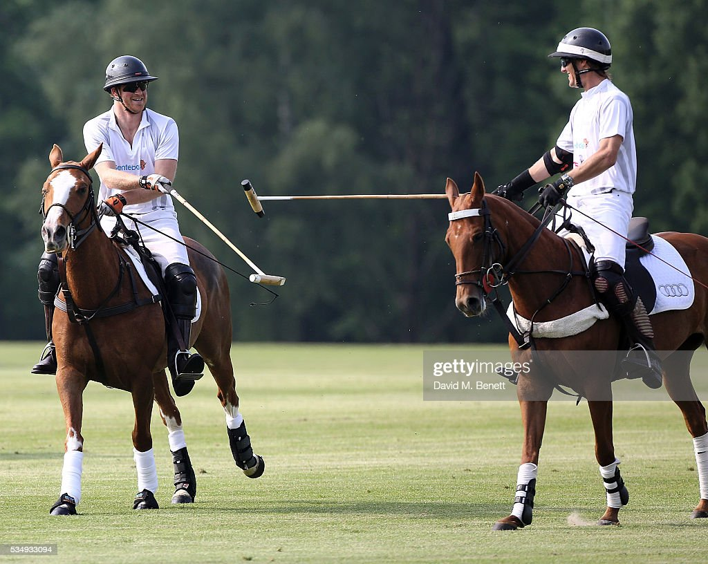 <a gi-track='captionPersonalityLinkClicked' href=/galleries/search?phrase=Prince+Harry&family=editorial&specificpeople=178173 ng-click='$event.stopPropagation()'>Prince Harry</a> and Mark Tomlinson attend day one of the Audi Polo Challenge at Coworth Park on May 28, 2016 in London, England.