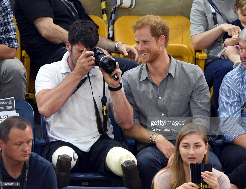 Prince Harry and Paralympian Dave Henson attend the Seated Volleyball on day 5 of the Invictus Games Toronto 2017 at Mattamy Athletic Centre on September 27, 2017 in Toronto, Canada. The Games use the power of sport to inspire recovery, support rehabilitation and generate a wider understanding and respect for the Armed Forces.