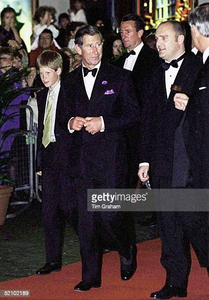 Prince Harry And Prince Charles Arriving At The Apollo Theatre In London To See A Performance Of 'doctor Dolittle'prince Charles' Police Bodyguard...
