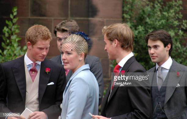 Prince Harry and Prince William at the wedding of Lady Tamara Katherine Grosvenor and Edward Bernard Charles van Cutsem at Chester Cathedral on...
