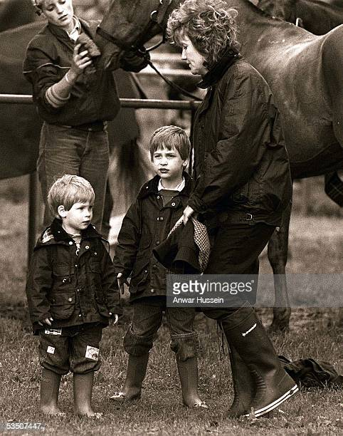 Prince Harry and Prince William attend a polo match at Cirencester Park in June 1987 in Cirencester England