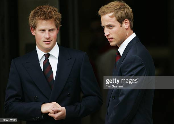 Prince Harry and Prince William attend the 10th Anniversary Memorial Service for their mother Diana Princess of Wales at Guards Chapel at Wellington...