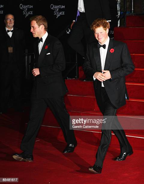 Prince Harry and Prince William attend the Royal World Premiere of 'Quantum of Solace' held at the Odeon Leicester Square on October 29 2008 in...