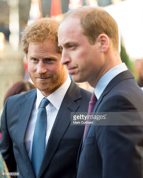 Prince Harry and Prince William Duke of Cambridge attend the Commonwealth Observance Day Service on March 14 2016 in London United Kingdom The...