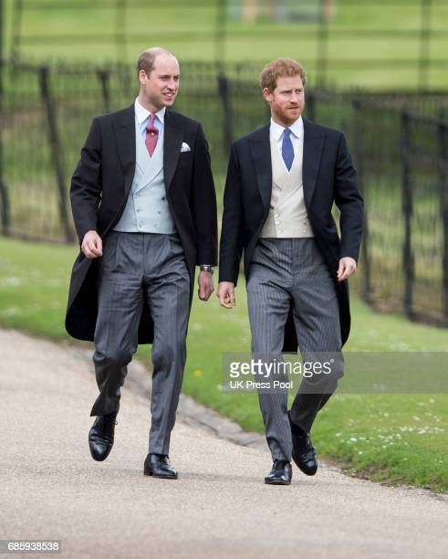 Prince Harry and Prince William Duke of Cambridge attend the wedding of Pippa Middleton and James Matthews at St Mark's Church on May 20 2017 in...