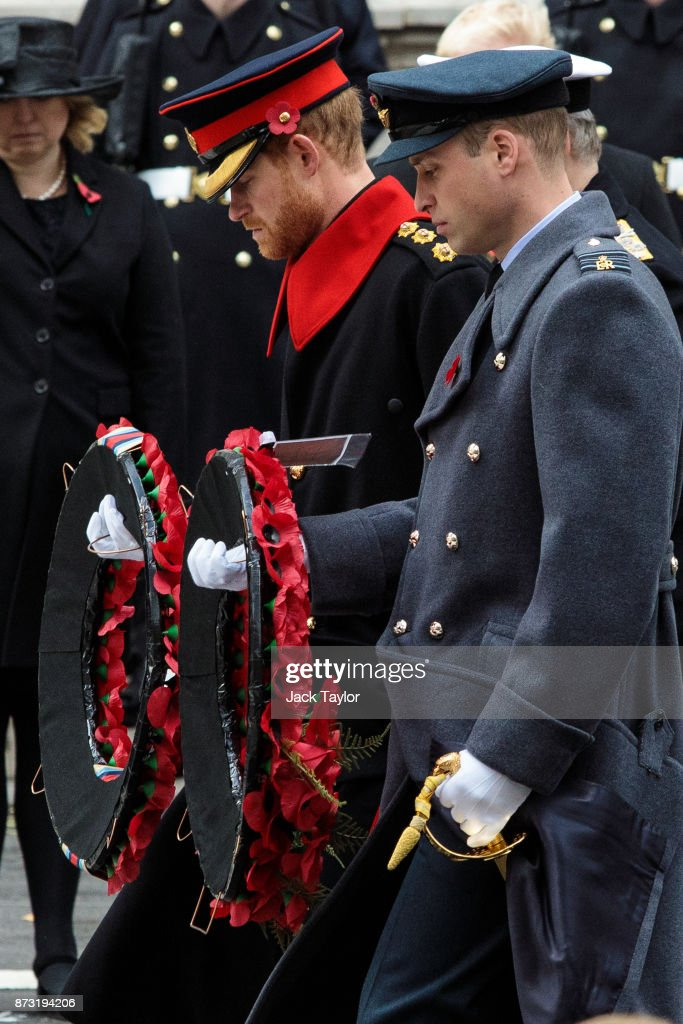 Prince Harry (L) and Prince William, Duke of Cambridge (R) lay wreaths during the annual Remembrance Sunday memorial on November 12, 2017 in London, England. The Prince of Wales, senior politicians, including the British Prime Minister and representatives from the armed forces pay tribute to those who have suffered or died at war.