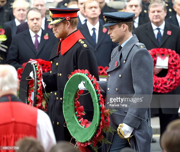 Prince Harry and Prince William Duke of Cambridge lays a wreath during the annual Remembrance Sunday Service at the Cenotaph Whitehall on November 8...