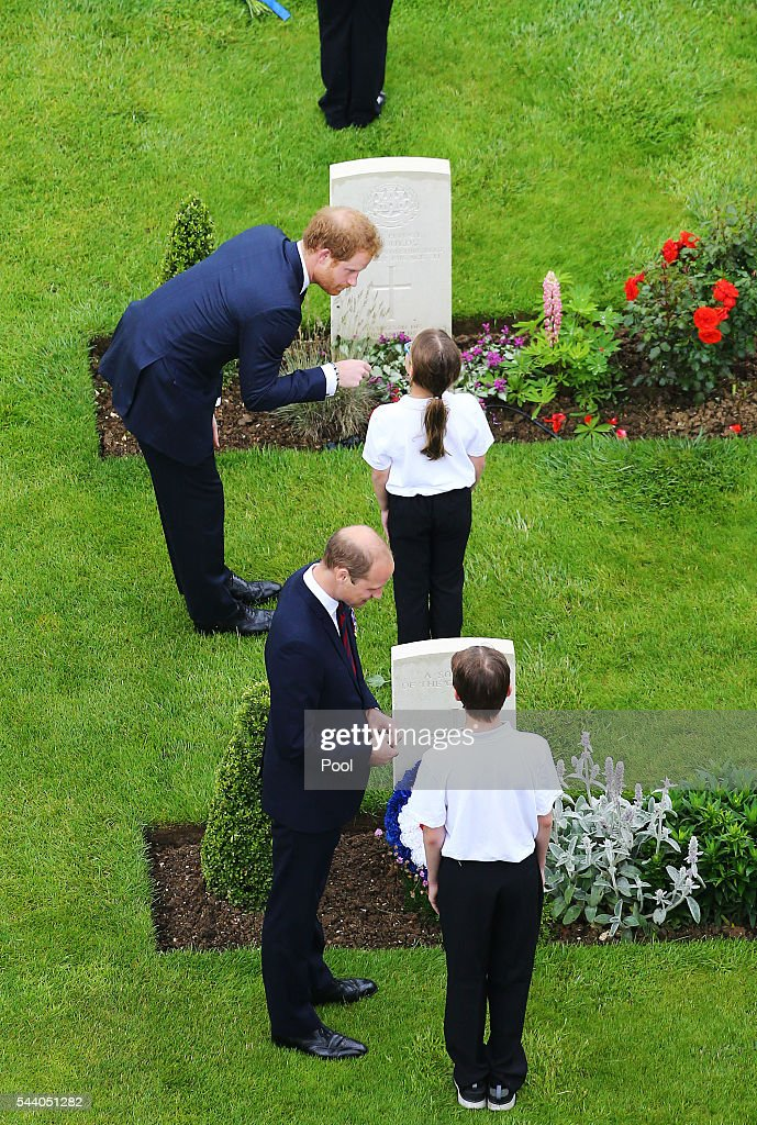 <a gi-track='captionPersonalityLinkClicked' href=/galleries/search?phrase=Prince+Harry&family=editorial&specificpeople=178173 ng-click='$event.stopPropagation()'>Prince Harry</a> (top) and <a gi-track='captionPersonalityLinkClicked' href=/galleries/search?phrase=Prince+William&family=editorial&specificpeople=178205 ng-click='$event.stopPropagation()'>Prince William</a>, Duke of Cambridge speak to young people after they laid wreaths during a service to mark the 100th anniversary of the start of the battle of the Somme at the Commonwealth War Graves Commission Memorial on July 1, 2016 in Thiepval, France. The event is part of the Commemoration of the Centenary of the Battle of the Somme at the Commonwealth War Graves Commission Thiepval Memorial in Thiepval, France, where 70,000 British and Commonwealth soldiers with no known grave are commemorated.
