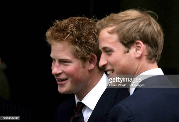 Prince Harry and Prince William greet guests for the Service of Thanksgiving for the life of Diana Princess of Wales at the Guards' Chapel London...