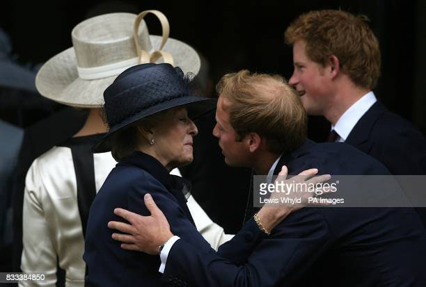 Prince Harry and Prince William greet Princess Alexandra at the Service of Thanksgiving for the life of Diana Princess of Wales at the Guards' Chapel...