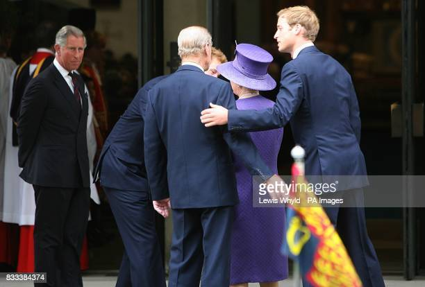 Prince Harry and Prince William greet The Queen and The Duke of Edinburgh as Prince Charles looks on at the Service of Thanksgiving for the life of...