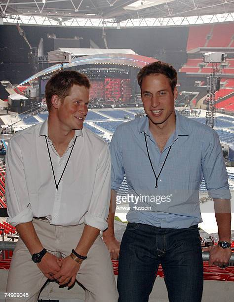 Prince Harry and Prince William pose as they inspect preparations prior to the Concert for Diana at Wembley Stadium on June 30 2007 in London England