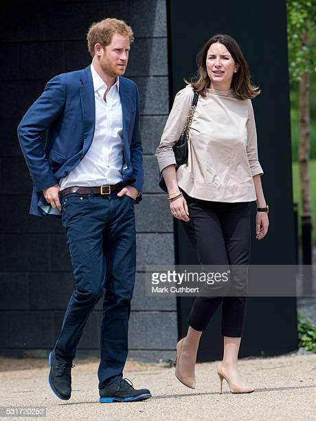 Prince Harry and Rebecca Deacon attend the launch of Heads Together Campaign at Olympic Park on May 16 2016 in London England