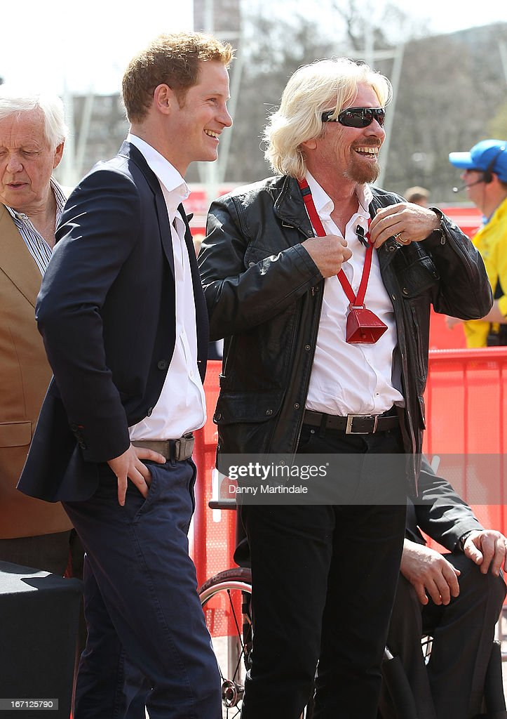 <a gi-track='captionPersonalityLinkClicked' href=/galleries/search?phrase=Prince+Harry&family=editorial&specificpeople=178173 ng-click='$event.stopPropagation()'>Prince Harry</a> and Sir <a gi-track='captionPersonalityLinkClicked' href=/galleries/search?phrase=Richard+Branson&family=editorial&specificpeople=220198 ng-click='$event.stopPropagation()'>Richard Branson</a>, the chairman of Virgin Group, chat at the finish of the Virgin London Marathon on April 21, 2013 in London, England.