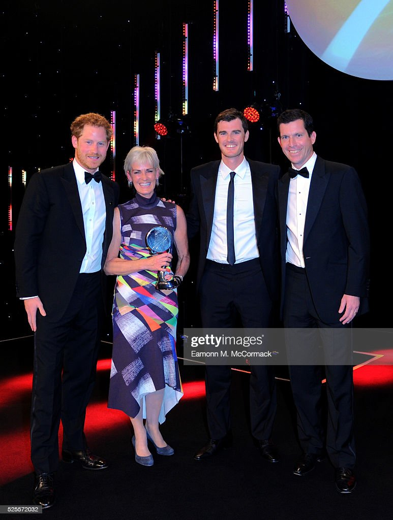 Prince Harry (L) and <a gi-track='captionPersonalityLinkClicked' href=/galleries/search?phrase=Tim+Henman&family=editorial&specificpeople=167277 ng-click='$event.stopPropagation()'>Tim Henman</a> (R) present The Coutts Lifetime Achievement award to <a gi-track='captionPersonalityLinkClicked' href=/galleries/search?phrase=Judy+Murray&family=editorial&specificpeople=582324 ng-click='$event.stopPropagation()'>Judy Murray</a> and son Jamie at the BT Sport Industry Awards 2016 at Battersea Evolution on April 28, 2016 in London, England. The BT Sport Industry Awards is the most prestigious commercial sports awards ceremony in Europe, where over 1750 of the industry's key decision-makers mix with high profile sporting celebrities for the most important networking occasion in the sport business calendar.