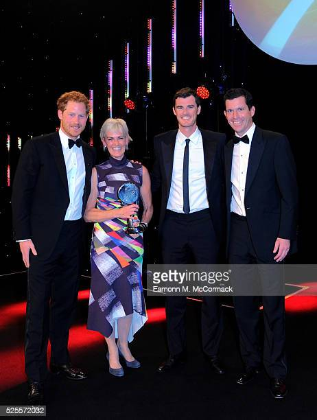 Prince Harry and Tim Henman present Outstanding Contribution to Sport Award to Judy Murray and son Jamie at the BT Sport Industry Awards 2016 at...