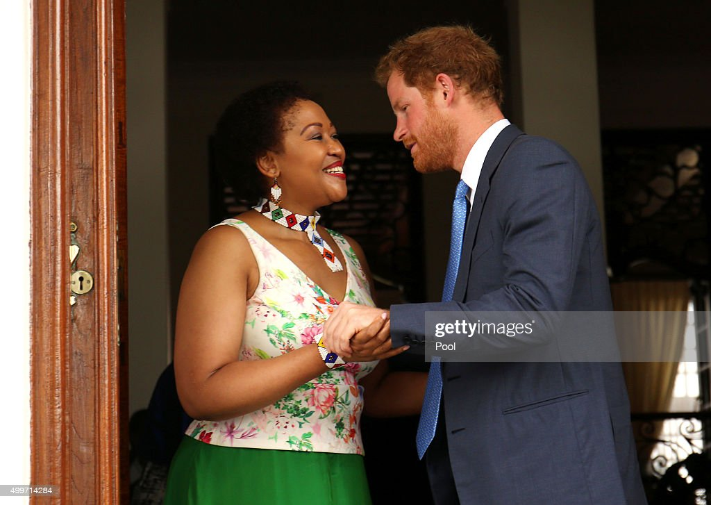 Prince Harry and Tobeka Madiba Zuma, the wife of South African President Jacob Zuma, say goodbye after a visit to the President' s Official Residence on the last day of his tour of South Africa on December 3, 2015 in Pretoria, South Africa. .