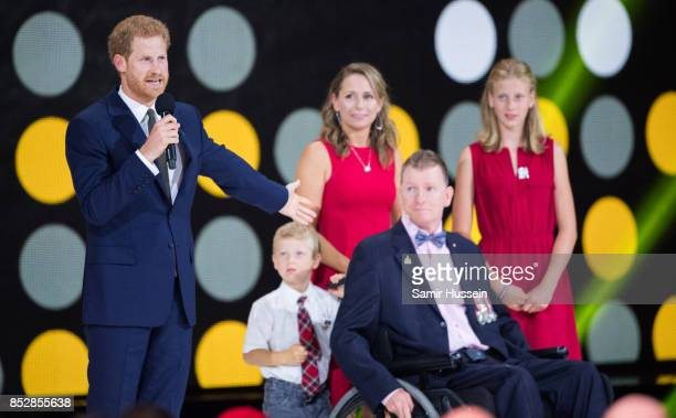 Prince Harry and Trevor Greene give a speech at the opening ceremonh on day 1 of the Invictus Games Toronto 2017 on September 23 2017 in Toronto...