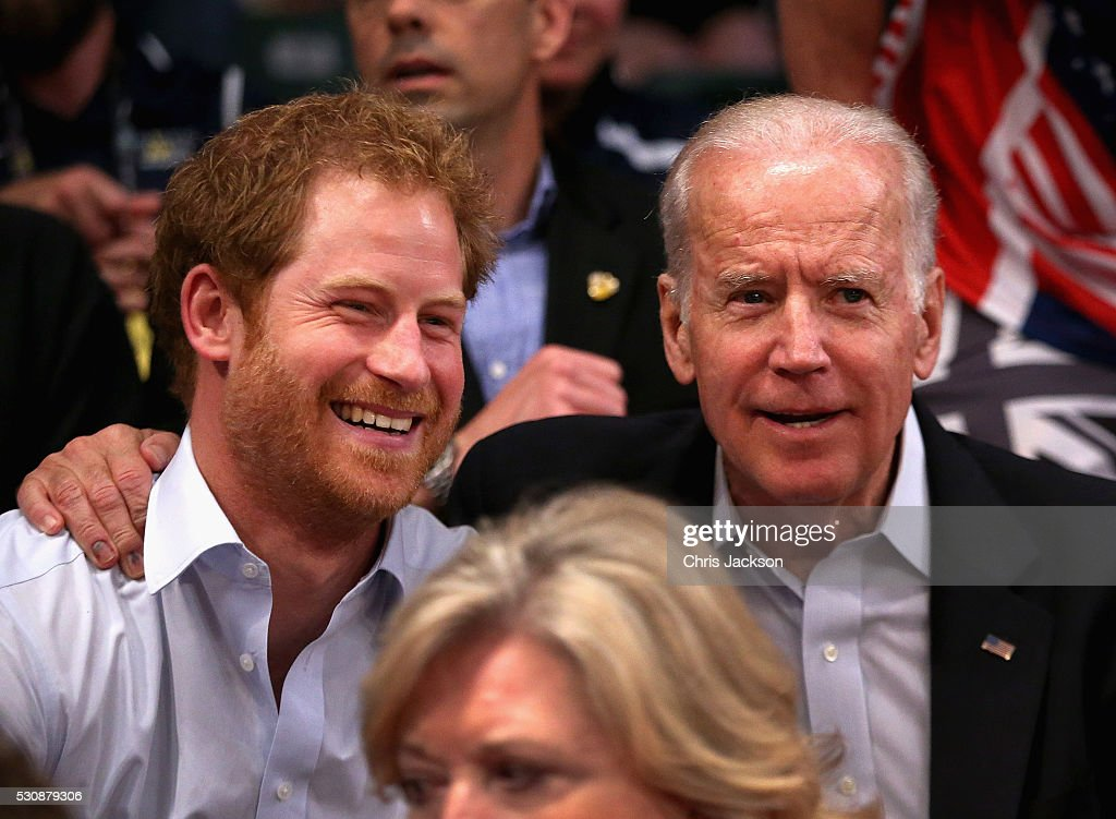 Prince Harry and Vice President of the United States of America Joe Biden watch USA Vs Denmark in the wheelchair rugby match at the Invictus Games Orlando 2016 at ESPN Wide World of Sports on May 11, 2016 in Orlando, Florida. Prince Harry, patron of the Invictus Games Foundation is in Orlando for the Invictus Games 2016. The Invictus Games is the only International sporting event for wounded, injured and sick servicemen and women. Started in 2014 by Prince Harry the Invictus Games uses the power of Sport to inspire recovery and support rehabilitation.